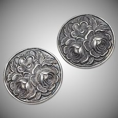 Sterling Silver Cabbage Rose Flower Round Clip Earrings