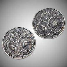 Sterling Silver Flower Clip Earrings