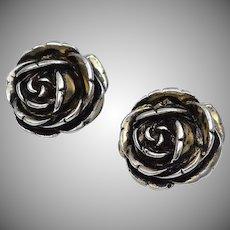 Sterling Silver 3D Rose Clip Earrings