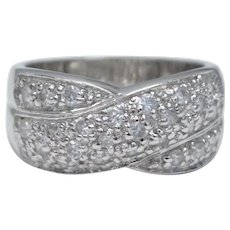 Sterling Silver CZ Overlapping Design Ring - Size 8