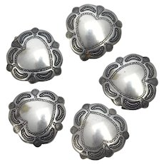 Sterling Silver Set of 5 Navajo Style Heart Button Covers