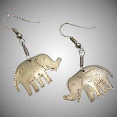 Alpaca Silver Elephant Dangle Earrings