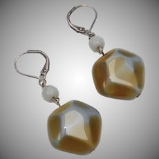 Polished Diamond Shaped Blue & Caramel Brown Stone Dangle Earrings