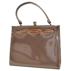 Mid-century Crown Lewis Signed Chocolate Brown Patent Leather Clasp-lock Handbag Purse