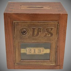 "Wood & Brass ""#213"" US Post Office P.O. or Bank Coin/Money Box"
