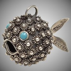 Signed TCC Mexico Sterling Silver Cannetille Puffer Fish Pendant or Charm w/ Blue Turquoise Eyes