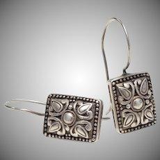 Sterling Silver Repoussé Design Rectangular Fishhook Dangle Earrings