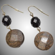 Bronzite Stone & Black Onyx Bead Round Checkerboard Cut Dangle Earrings