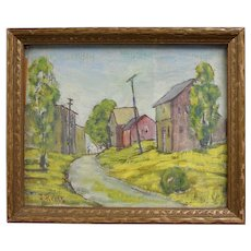 "Circa 1940s Listed Artist J.Reiss Modernist Style Rural Houses City Neighborhood 11"" x 12"" Painting"
