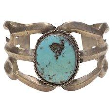 Sterling Silver Blue Turquoise Sandcast Navajo Southwestern Cuff Bracelet