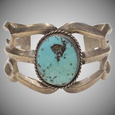 Sterling Silver Blue Turquoise Sandcast Navajo Southwestern Cuff Bracelet