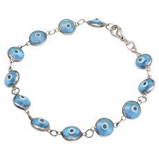 Sterling Silver & Glass Evil Eye Bead Bracelet