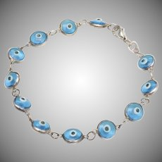 Sterling Silver & Glass Evil Eye Bead Bracelet