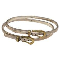 Signed Mexico Sterling Silver Figural Belt Bracelet w/ Gold Brass Buckle
