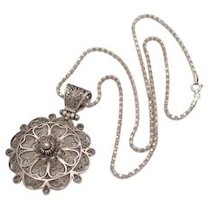 Sterling Silver Filigree Flower Pendant w/ Chain