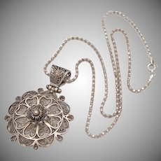 Sterling Silver Filigree Flower Pendant w/ Chain