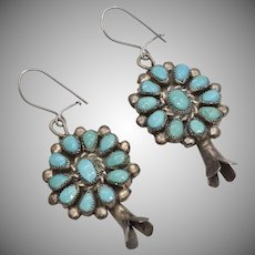 Sterling Silver Navajo Squash Blossom Turquoise Native American Dangle Earrings