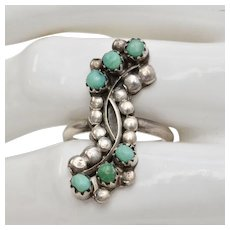 Sterling Silver & Turquoise Navajo Native American Ring - Size 8