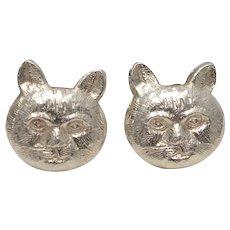 Tiffany & Co. Sterling Silver Cat Head Stud Earrings