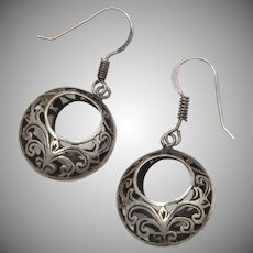 Sterling Silver Basket Hoop Dangle Earrings