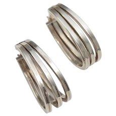 Sterling Silver Triple Hoop Hinged Earrings