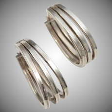 Sterling Silver Triple Hoop Hinged Earrings