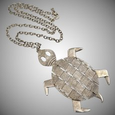 "Large 4"" Textured Silvertone Turtle Pendant Necklace"