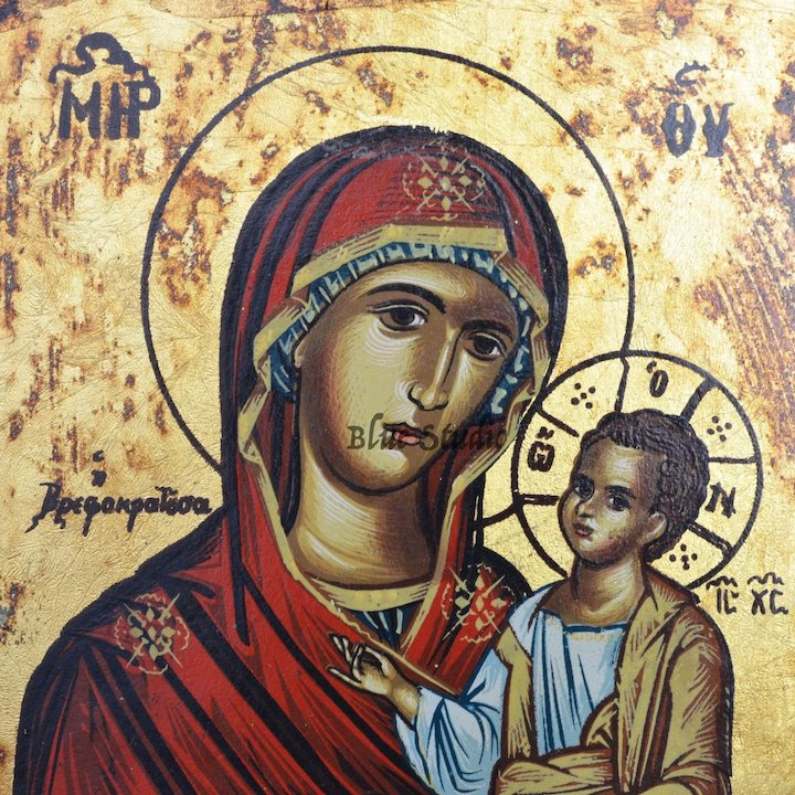 eastern orthodox mother mary baby jesus religious icon painted art