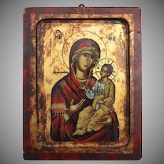 Eastern Orthodox Mother Mary & Baby Jesus Religious Icon Painted Art Wall Hanging