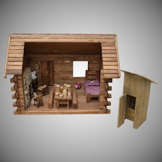 Handcrafted Primitive Wood Log Cabin Doll House w/ Furniture & Outhouse