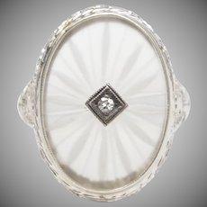 Camphor Glass w/ Diamond 14K White Gold Ring - Size 6 1/4