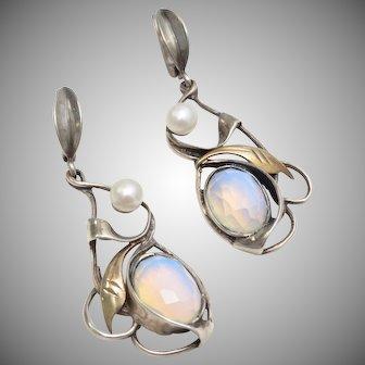 14k Gold & Sterling Silver, Moonstone & Pearl Dangle Earrings