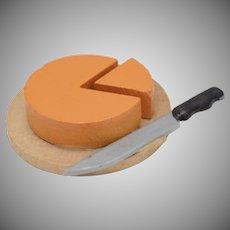 Miniature Dollhouse Cut Cheese Wheel w/ Knife on Wood Block