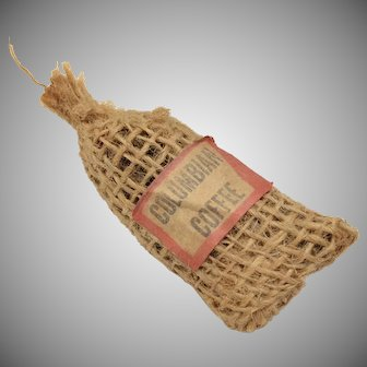 "Dollhouse Miniature ""Columbian Coffee"" Burlap Bag"