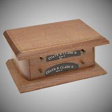 c1970s Rare 'Coats & Clark's' Real Working 2-Drawer Thread Spool Genuine Wood Cabinet Dollhouse Miniature