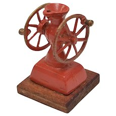 Dollhouse Miniature Mechanical Red Painted Metal Double Wheel Coffee Grinder
