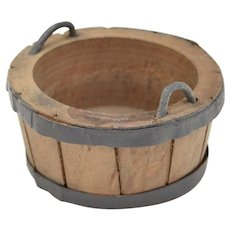 Dollhouse Miniature Wooden Wash Bucket w/ Handles