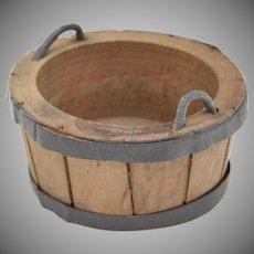 Dollhouse Miniature Wooden Wash Bucket w/ Handles