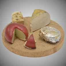 Dollhouse Miniature Assorted Cheeses on Wooden Plate