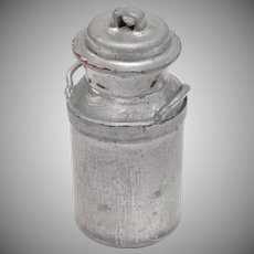 Dollhouse Miniature Silver Painted Wooden Milk Can