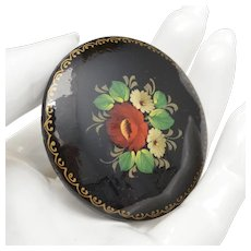 Artist Signed Russian Hand-painted Red & White Flowers on Black Genuine Wood Round Brooch/Pin