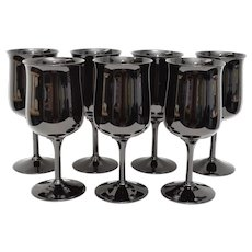 Set of 7 Lenox USA Midnight Mood Opaque Black Glass Wine or Water Goblets