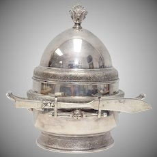 c1880s Rare Reed & Barton Silver Plated 3-Pc Butter or Caviar Dish w/ Glass Insert & Bonus Knife