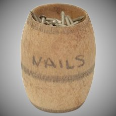 Dollhouse Miniature Barrel of Nails w/ Metal Nails