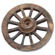 "Large 3"" Primitive Style Wood & Metal Dollhouse Miniature Wagon Wheel"