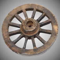"Large 3"" Primitive Style Wood & Metal Dollhouse Miniature Wagon Wheel"