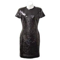 "Signed ""Ann Taylor"" Black Sequin Short Sleeve Cocktail Dress - Size 2"