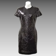 "Signed ""Ann Taylor"" Black Sequin Short Sleeve Cocktail Dress - Size 2"