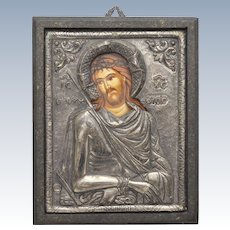 Fine Silver 950 Christ Hand-painted Religious Byzantine Icon