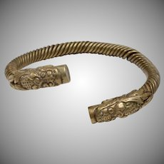c1900 Heavy Brass Chinese Dragon Head Bypass Bangle Bracelet